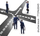 young businessman at crossroads ...   Shutterstock . vector #772963045