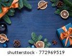 christmas  new year dark blue... | Shutterstock . vector #772969519