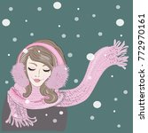 winter time. woman with knitted ... | Shutterstock .eps vector #772970161