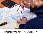 navigation with sea charts in... | Shutterstock . vector #772981621