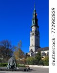 Small photo of Poland, Silesia province, Czestochowa - 2014/10/29: Jasna Gora Pauline Order Monastery - the monastery tower and an entry square