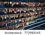 locks on a bridge in ljubljana   Shutterstock . vector #772983145