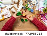 children make crafts and toys ... | Shutterstock . vector #772985215