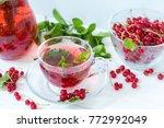 redcurrant drink in transparent ...   Shutterstock . vector #772992049