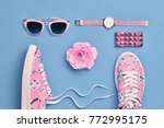 fashion. woman accessories set. ... | Shutterstock . vector #772995175