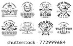 set of vintage monochrome rodeo ... | Shutterstock .eps vector #772999684