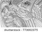 coloring page doodle pattern...   Shutterstock .eps vector #773002375