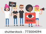 mass protest  flat editable... | Shutterstock .eps vector #773004094