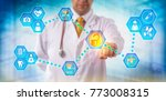 unrecognizable doctor sharing... | Shutterstock . vector #773008315