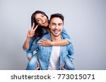 he and she travel together ... | Shutterstock . vector #773015071