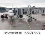 Small photo of Stockholm, Sweden- October 13th 2017:Passengers boarding an Airbus aircraft along a airbridge or jetway at Stcokholms Arlanda airport.