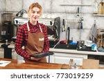 portrait of a girl baristas at... | Shutterstock . vector #773019259