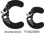 swirl doodle alphabet letter c... | Shutterstock .eps vector #773023855