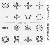 set of arrows vector thin line... | Shutterstock .eps vector #773023915