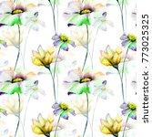 seamless wallpaper with summer... | Shutterstock . vector #773025325