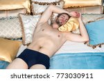 man with sexy body in briefs in ... | Shutterstock . vector #773030911