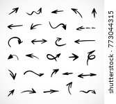 hand drawn arrows  vector set | Shutterstock .eps vector #773044315