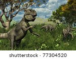 Three archaeoceratops dinosaurs explore a lush meadow - 3d render. - stock photo