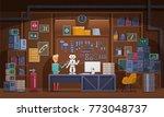 little boy working on robot in...   Shutterstock .eps vector #773048737