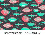 swimming fishes cute pattern on ... | Shutterstock .eps vector #773050339
