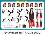 set of super businesswoman... | Shutterstock .eps vector #773051419