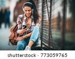 portrait of a happy young woman ... | Shutterstock . vector #773059765