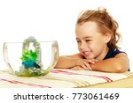 beautiful small tanned girl ... | Shutterstock . vector #773061469