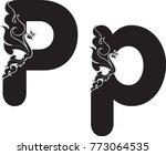 swirl doodle alphabet letter p...   Shutterstock .eps vector #773064535