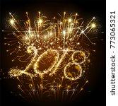 vector 2018 happy new year...   Shutterstock .eps vector #773065321