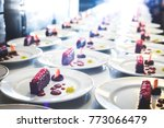 plates with fresh tasty served... | Shutterstock . vector #773066479