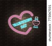 love potion glass bottle. neon...   Shutterstock .eps vector #773067031