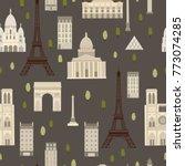 paris. vector seamless pattern | Shutterstock .eps vector #773074285
