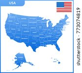 the detailed map of the usa... | Shutterstock . vector #773074819