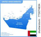 the detailed map of the uae... | Shutterstock . vector #773074834
