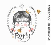 cute  princess girl with crown... | Shutterstock .eps vector #773085031