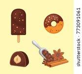 chocolate sweet dessert icons.... | Shutterstock .eps vector #773091061