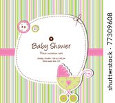 baby shower invitation template ... | Shutterstock .eps vector #77309608