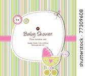 baby shower invitation template ... | Shutterstock .eps vector #77309608