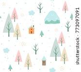 winter forest seamless pattern | Shutterstock .eps vector #773097091