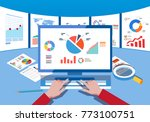 data monitoring and analysis | Shutterstock .eps vector #773100751
