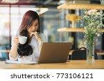 beautiful asian woman using... | Shutterstock . vector #773106121