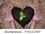 planting tree over heart black... | Shutterstock . vector #773111707
