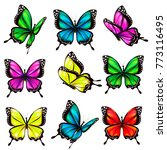 beautiful color butterflies set ... | Shutterstock . vector #773116495