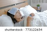 woman get sick and fever lying... | Shutterstock . vector #773122654