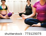 pregnant woman in yoga class | Shutterstock . vector #773125075