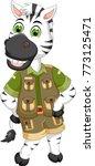 cute zebra cartoon posing with... | Shutterstock .eps vector #773125471