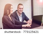 business couple work with... | Shutterstock . vector #773125621