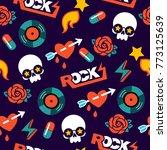 funky vector seamless rock... | Shutterstock .eps vector #773125639