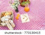 picnic bread croissant basket... | Shutterstock . vector #773130415
