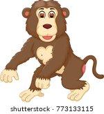 cute gorilla cartoon walking... | Shutterstock .eps vector #773133115